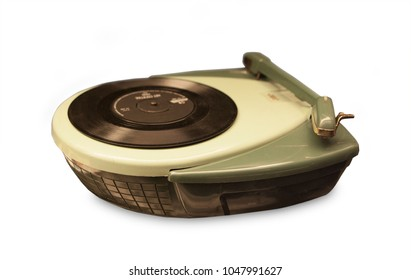 Portable vintage record player from the fifties
