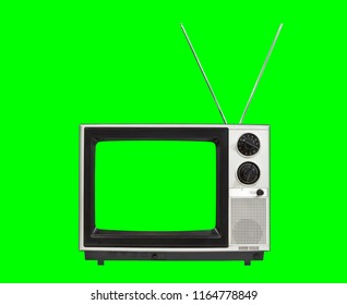 Portable vintage television with antennas and chroma green screen and background.