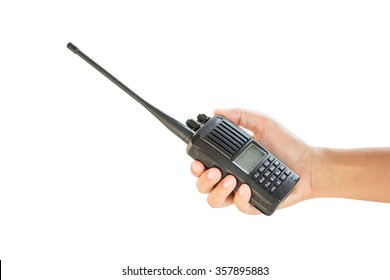 Portable walkie-talkie radio in hand, isolated on white background
