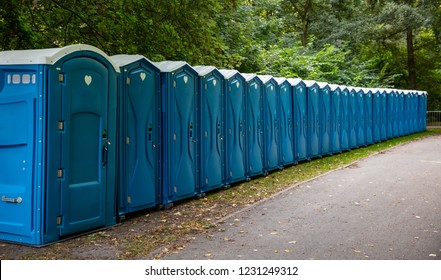 Portable WC cabins in the park. A line of chemical toilets for a festival, against a forest background