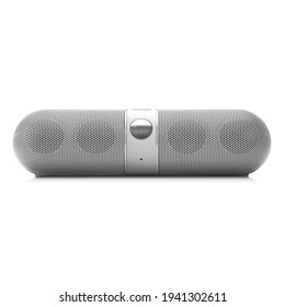 Portable Wireless Bluetooth Dj Speaker System Isolated. Front View of Lightweight Silver Stereo Sound System with Splashproof Fabric Design. New Cell Phone Accessories. Modern Electronic Devices