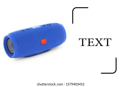 Portable Wireless Bluetooth Speaker Isolated on White. Side View of Blue Powerful Stereo Sound System with Splashproof Fabric Design. Noise and Echo Cancelling Speakerphone. Cell Phone Accessories