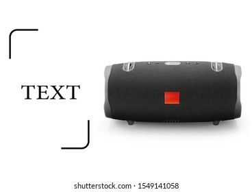 Portable Wireless Speaker Isolated. Black Boom Box. Powerful Stereo Sound System with Control Buttons. Waterproof Boombox. Noise and Echo Cancelling Speakerphone. Electronic Accessories Side View