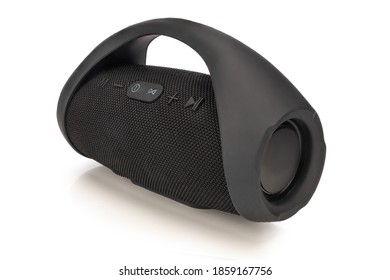 Portable Wireless Speaker Isolated. Black Boom Box. Side view