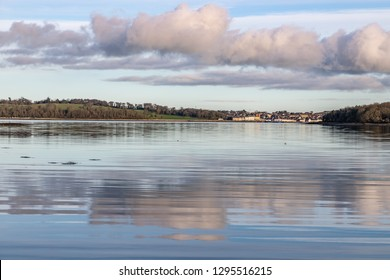 Portaferry village and forest in Strangford lough at sunset, Northern Ireland, UK