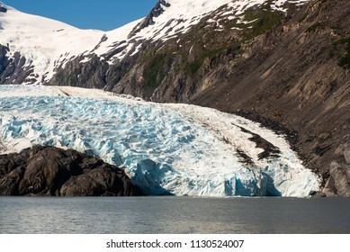 Portage Glacier as it meets Portage Lake.