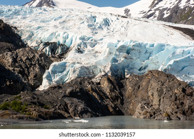 Portage Glacier terminus as seen from Portage Lake.