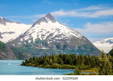 Portage Lake area, Portage Glacier area, Alaska. The scenery is spectacular while hiking on this beautiful perimeter trail.