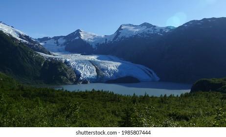 Portage Lake with beautiful glacier, popular hiking and tourist spot, Kenai Fjords National Park, Alaska, United States