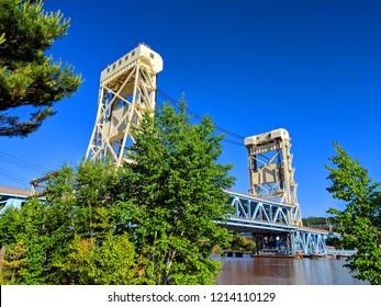 The Portage Lake Lift Bridge between Houghton and Hancock in Michigans upper peninsula