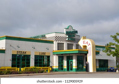 PORTAGE, IN / USA - JULY 16, 2017:  Quaker Steak and Lube, whose Portage location is shown here, has over over 50 locations in the United States.