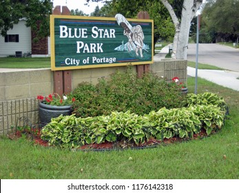 PORTAGE, WISCONSIN / USA - September 5, 2011: Sign at entrance to Blue Star Park, site of the Veterans' Memorial