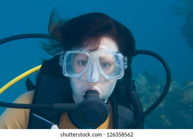 Portair of a female scuba diver in the Bahamas