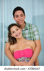 Portait of a happy young couple in love
