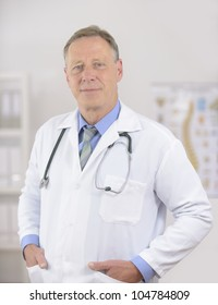 Portait of a mature male doctor at office