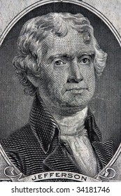 Portait of Thomas Jefferson from the two dollar bill.