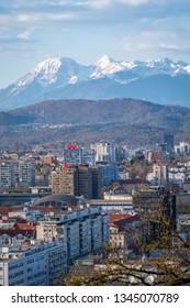 Portait view from castle over old town Ljubljana to mountain range Kamnik–Savinja Alps in Slowenia, Europe