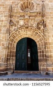 Portal in Gothic Manueline style of the parish church in the town of Vila Nova de Foz Coa, Portugal