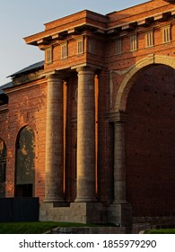 Portal of The new Holland water gate. Center of old Saint Petersburg.