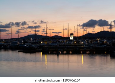 Portal Nous, Mallorca, Spain. September 23, 2018. Sunset at the Puerto Portals marina, the most prestigious nautical and leisure complex in Mallorca and the Mediterranean.