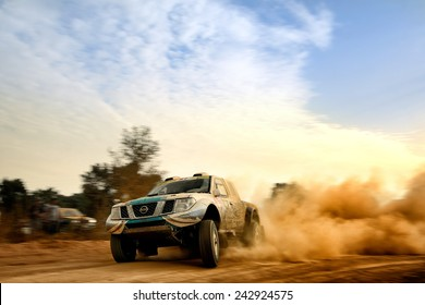 PORTALEGRE, PORTUGAL - NOV 1 : Portuguese driver Paulo Ferreira and his codriver Jorge Monteiro in a Nissan Navara Off-Road race in the 28th Baja Portalegre 500, on Nov 1, 2014 in Portalegre, Portugal