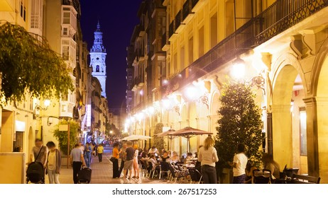 Portales street with restaurants in night. Logrono, Spain