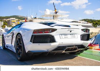 PORTALS NOUS, SPAIN - SEPTEMBER, 2013 - White Lamborghini Aventador in the port area