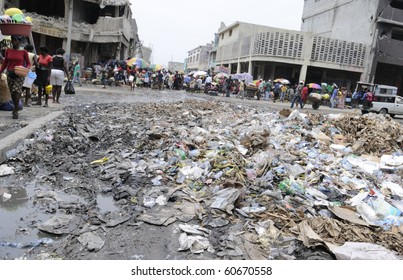 PORT-AU-PRINCE - AUGUST 21: A garbage dumping place right in the middle of  Iron Market in  Port-Au-Prince, Haiti on August 21, 2010.
