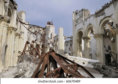 PORT-AU-PRINCE - AUGUST 22: A collapsed church in Port-Au-Prince, Haiti on August 22, 2010.