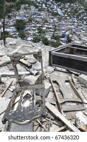 PORT-AU-PRINCE - AUGUST 26:  Collapsed furniture on top of a hill, in Port-Au-Prince, Haiti on August 26, 2010.