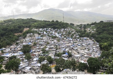 PORT-AU-PRINCE - AUGUST 26:  An Haitian village in the valley region which was severely hit during the earthquake in January,  in Port-Au-Prince, Haiti on August 26, 2010.