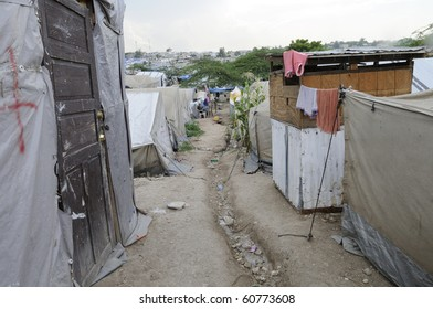 PORT-AU-PRINCE - AUGUST 28: Empty walkway in, one of the Tent City. Due to unbearable heat  residents go out to some cool places during the day time, on August 28, 2010 in Port-Au-Prince, Haiti