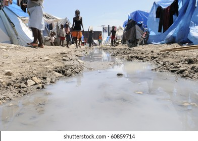 PORT-AU-PRINCE - AUGUST 28:  Stagnant waters can be found all around the tent cities, a breeding place for all possible germs,  in Port-Au-Prince, Haiti on August 28, 2010.