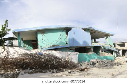 PORT-AU-PRINCE - AUGUST 28:  A stooped downed  yet untouched building on August 28, 2010 in Port-Au-Prince, Haiti