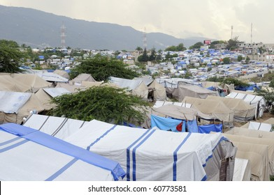 PORT-AU-PRINCE - AUGUST 28: A top angle view of a Tent City, on August 28, 2010 in Port-Au-Prince, Haiti