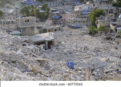 PORT-AU-PRINCE - AUGUST 28:  A valley of broken houses and debris  on August 28, 2010 in Port-Au-prince, Haiti.