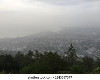 Port-Au-Prince / Haiti - September 27, 2017: The horizon overlooking Port-Au-Prince, Haiti, is heavy with smoky haze.