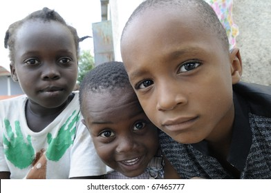 PORT-AU-PRINCE - SEPTEMBER 2:  unidentified Haitian kids  enjoying during a camp, in Port-Au-Prince, Haiti on September 2, 2010.