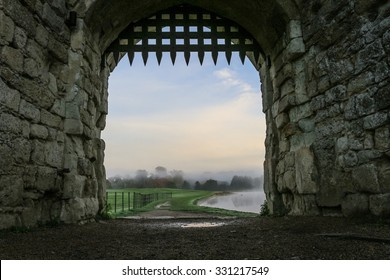 Portcullis in stone archway. Taken at Leeds castle, Kent.