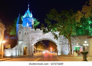 Porte Dauphine gate closeup at night in Quebec City
