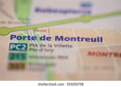 Porte de Montreuil Station on the Paris Metro map.