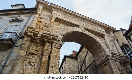 Porte Noire (Black Door), famous monument from time of Roman Empire built triumphal arch for victories of Marcus Aurelius and Lucius Verus, located in Besancon city, Franche-Comte, France, Europe