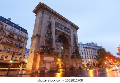 Porte Saint-Denis is a Parisian monument located in the 10th arrondissement, at the crossing of the Rue Saint-Denis continued by the Rue du Faubourg Saint-Denis. Paris. France.