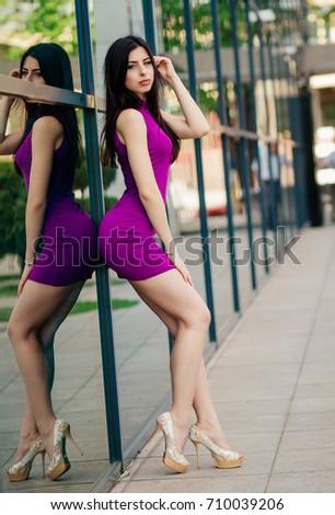 0c10c70c3 Porter Beautiful Young Girl Slender Brunette Stock Photo (Edit Now ...