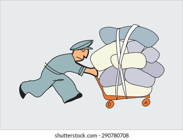 Porter with a trolley at the station, Loader. illustration