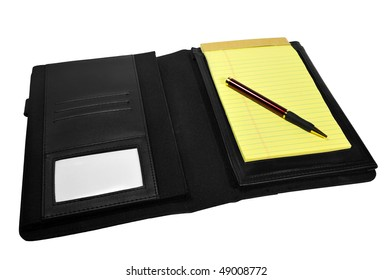 Portfolio with notepad and pen