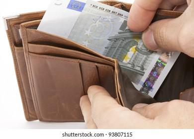 Portfolio with a single five dollar note
