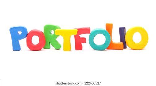 PORTFOLIO - webwords of plasticine letters standing isolated on white