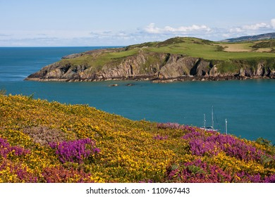 Porth Wen bay on the Isle of Anglesey North wales withthe old brick works below