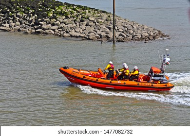 Porthcawl, Bridgend County Borough / Wales UK - 7/28/2019: Porthcawl RNLI RescueFest. Local B Class Atlantic 85 Lifeboat in manoeuvres. Here returning to base.